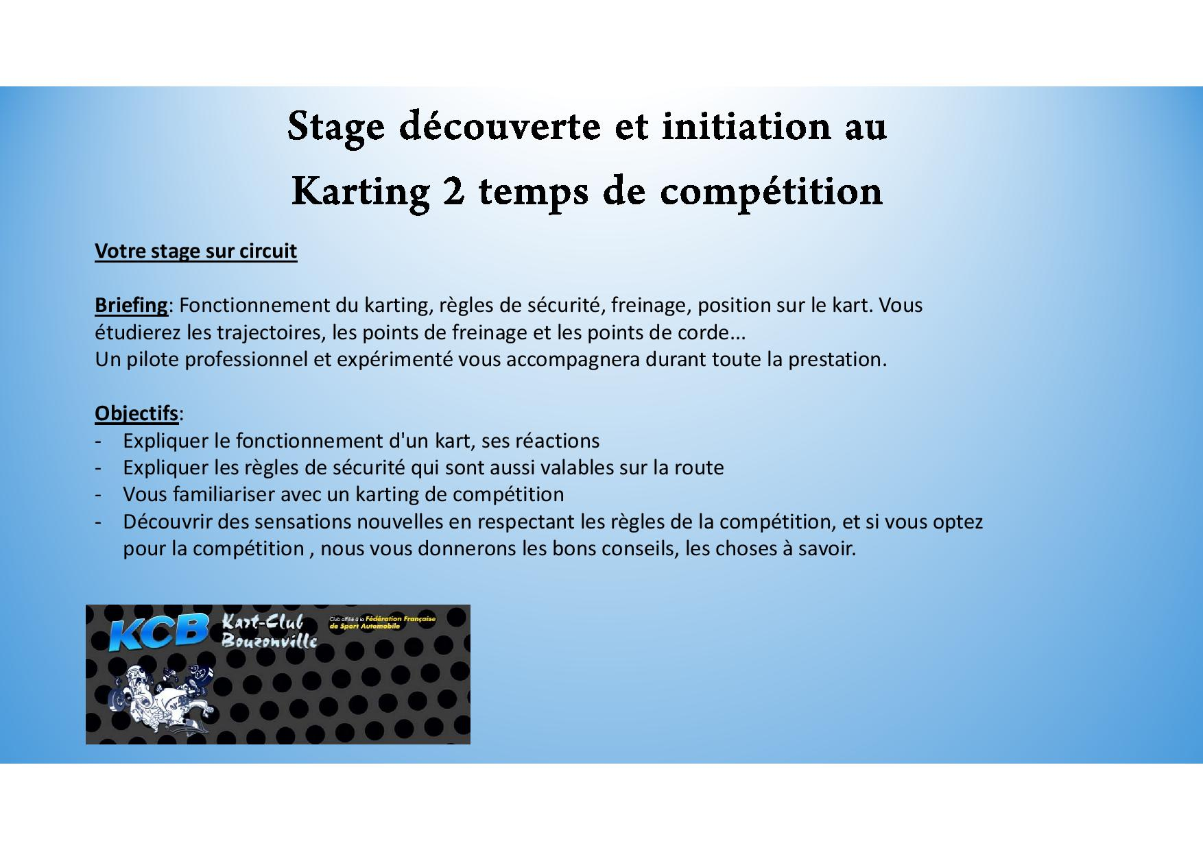 Stage decouverte et initiation au karting 2 temps page 001